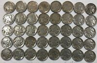 ROLL OF 40 FULL DATE INDIAN HEAD BUFFALO NICKELS. MIXED COMMON DATES 11