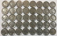 ROLL OF 40 FULL DATE INDIAN HEAD BUFFALO NICKELS. MIXED COMMON DATES 13