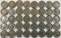 ROLL OF 40 FULL DATE INDIAN HEAD BUFFALO NICKELS. MIXED COMMON DATES 14