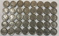 ROLL OF 40 FULL DATE INDIAN HEAD BUFFALO NICKELS. MIXED COMMON DATES 20