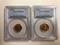 1948-S & 1949-S MINT STATE 66RD LINCOLN CENTS BOTH COINS FOR ONE LOW PRICE