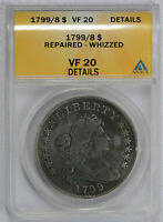 1799 OVER 8 $1 DRAPED BUST DOLLAR -ANACS GRADED VF20 DETAILS