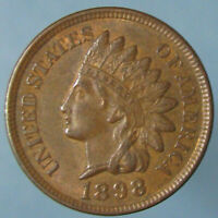 1898 INDIAN HEAD CENT   BROWN UNCIRCULATED WITH A HINT OF ORIGINAL MINT RED