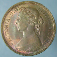 NICELY TONED RED & BROWN UNCIRCULATED 1887 VICTORIA HALF PENNY