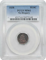 US COINS 1838 HALF DIME WITH NO DRAPERY PCGS MS61 LIGHTLY TONED