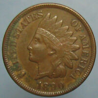 EF AU 1890 INDIAN HEAD CENT WITH A HINT OF ORIGINAL MINT RED