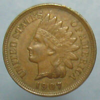 BROWN AU 1907 INDIAN HEAD CENT   FOUR FULL DIAMONDS ON THE RIBBON