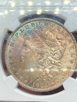 1901-O NGC MINT STATE 64 MORGAN SILVER DOLLAR, RAINBOW TONED OBVERSE, VARIETY OF COLORS