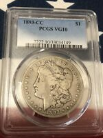 1893-CC MORGAN DOLLAR $1  PCGS  VG10 MINTAGE OF ONLY 677,000 KEY DATE CERTIFIED