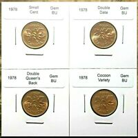 CANADA 1978 SMALL CENT GEM BU VARIETY SET   DOUBLE DATE DOUB