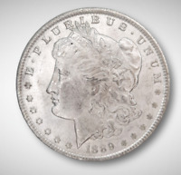 1889 BU MORGAN DOLLAR VAM DOUBLE EAR ERROR