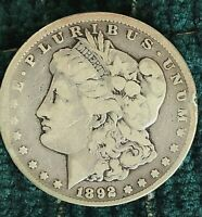 1892CC MORGAN SILVER DOLLAR-CONDITION  GOOD