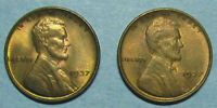 TWO CHOICE RED & BROWN UNCIRCULATED 1937 LINCOLN WHEAT CENTS