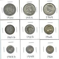 NINE VARIOUS 90  SILVER U.S. COINS   CIRCULATED COINS   NICE