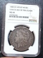 1880-CC NGC VG10 REVERSE OF 1878 VAM-7A CARSON CITY MORGAN SILVER DOLLAR REV 78