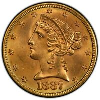 Click now to see the BUY IT NOW Price! POP 1/0 FINEST 1887 S $5 MS66 PCGS LIBERTY HALF EAGLE