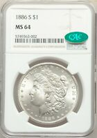1886-S NGC CAC MINT STATE 64 MORGAN SILVER DOLLAR FLASHY BRIGHT WHITE GEM BU S/S VAM-2