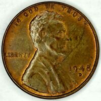1948-D 1C LINCOLN WHEAT CENT UNC R/B 19OL1123 70 CENTS SHIPPING