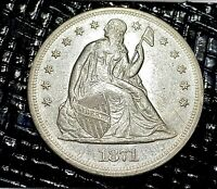 1871 SEATED LIBERTY DOLLAR   WOW   AWESOME CHANCE TO GET A S