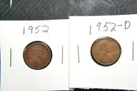 1952 AND 1952-D WHEAT COINS IN GOOD CONDITION