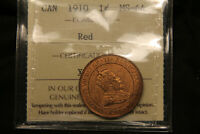 1910 CANADA LARGE CENT MS 64 ICCS RED. BV $250.