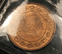 1913 CANADA LARGE CENT MS 64 ICCS RED. BV $180.