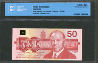 1988 $50 BANK OF CANADA UNC 63 CCCS CERTIFIED. BC 59A. CHOICE UNCIRCULATED.