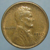 SHARP AU 1910 S LINCOLN CENT   NICE BROWN PATINA WITH A BIT OF MINT RED