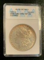 1893 AU 55 ANACS VAM-4 DBL STRS TOP 100 MORGAN SILVER DOLLAR, LIGHT GOLDEN TONED