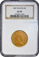Click now to see the BUY IT NOW Price! TONED 1807 $5 AU50 NGC COLOR DRAPED BUST HALF EAGLE