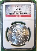 1880-S $1 MORGAN DOLLAR. CERTIFIED NGC MINT STATE 62. MG3.