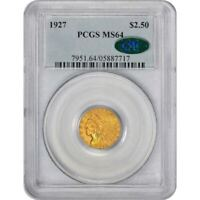 1927 $2.5 MS64 PCGS CAC INDIAN QUARTER EAGLE GOLD