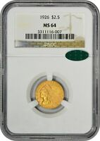 1926 $2.5 MS64 NGC CAC INDIAN QUARTER EAGLE GOLD