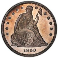 1860 $1 PR64  CAMEO PCGS CAC TONED SEATED LIBERTY DOLLAR PROOF