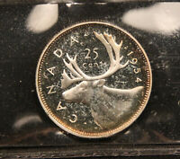 1954 CANADA SILVER 25 CENTS PL 66 ICCS CERTIFIED. TOUGH EARLY DATE PL COIN.