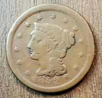 1852 US LARGE CENT VERY GOOD FINE