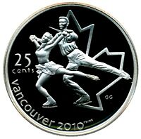 CANADA 25 CENT SILVER PROOF 2010 VANCOUVER FIGURE SKATING
