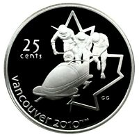 CANADA 25 CENT SILVER PROOF 2010 VANCOUVER BOBSLEIGH