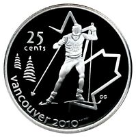 CANADA 25 CENT SILVER PROOF 2010 VANCOUVER CROSS COUNTRY SKIING