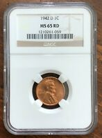 1942D LINCOLN CENT MINT STATE 65RD - A BEAUTIFUL COIN
