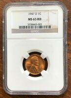 1947D LINCOLN CENT MINT STATE 65RD - A BEAUTIFUL COIN