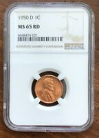 1950D LINCOLN CENT MINT STATE 65RD - A BEAUTIFUL COIN