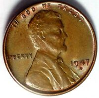 1947-D 1C LINCOLN WHEAT CENT UNC R/B 17RR1412 70 CENTS SHIPPING