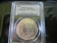 1904 MORGAN SILVER DOLLAR PCGS GENUINE CLEANING- UNC. DETAILS
