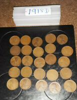 1918 D LINCOLN WHEAT CENT HALF  ROLL OF 25 COINS