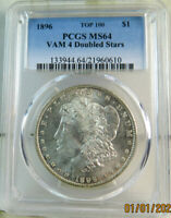 1896 MORGAN DOLLAR PCGS MINT STATE 64 VAM 4 DOUBLED STARS LOW DATE TOP100