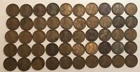 ROLL OF 50 1919-S LINCOLN WHEAT CENTS, FINE & VG, ABOUT HALF EACH. .A3