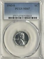 1943-S PCGS MINT STATE 67 LINCOLN CENT