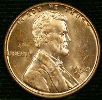 1950-D 1C LINCOLN WHEAT CENT BU RED 21LOS0118 70 CENTS SHIPPING
