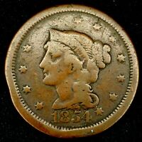 1854-P 1C BRAIDED HAIR LARGE CENT 20ULT1021 $1 SHIPPING